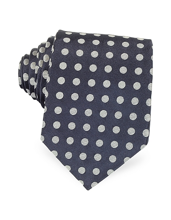 Forzieri - Dark Blue with Gray Large Woven Dots Men's Pure Silk Tie