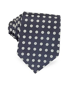 Dark Blue with Gray Large Woven Dots Men's Pure Silk Tie - Forzieri