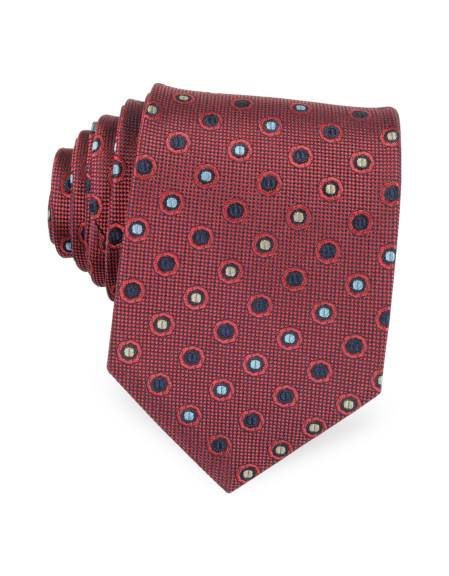 Forzieri Ties, Multicolor Dots Woven Pure Silk Men's tie
