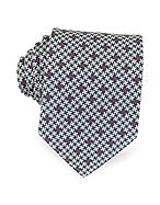 Forzieri Cravatta in Seta Jacquard Blu, Beige e Bordeaux - forzieri - it.forzieri.com