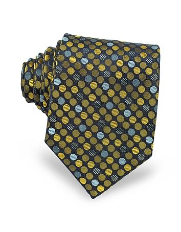 Forzieri - Pure Silk Woven Polka Dots Men's Tie