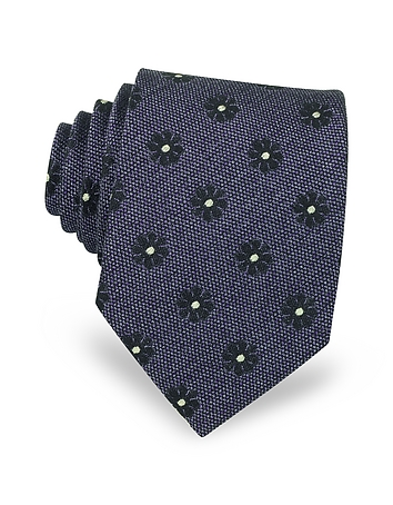 Forzieri Cravate en Soie Tissée à Fleurs