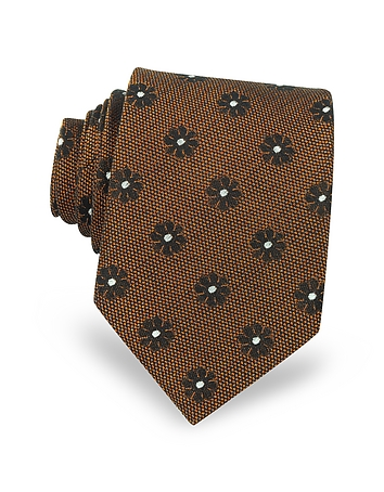 Forzieri - Pure Silk Woven Floral Pattern Men's Tie