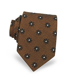 Pure Silk Woven Floral Pattern Men's Tie - Forzieri