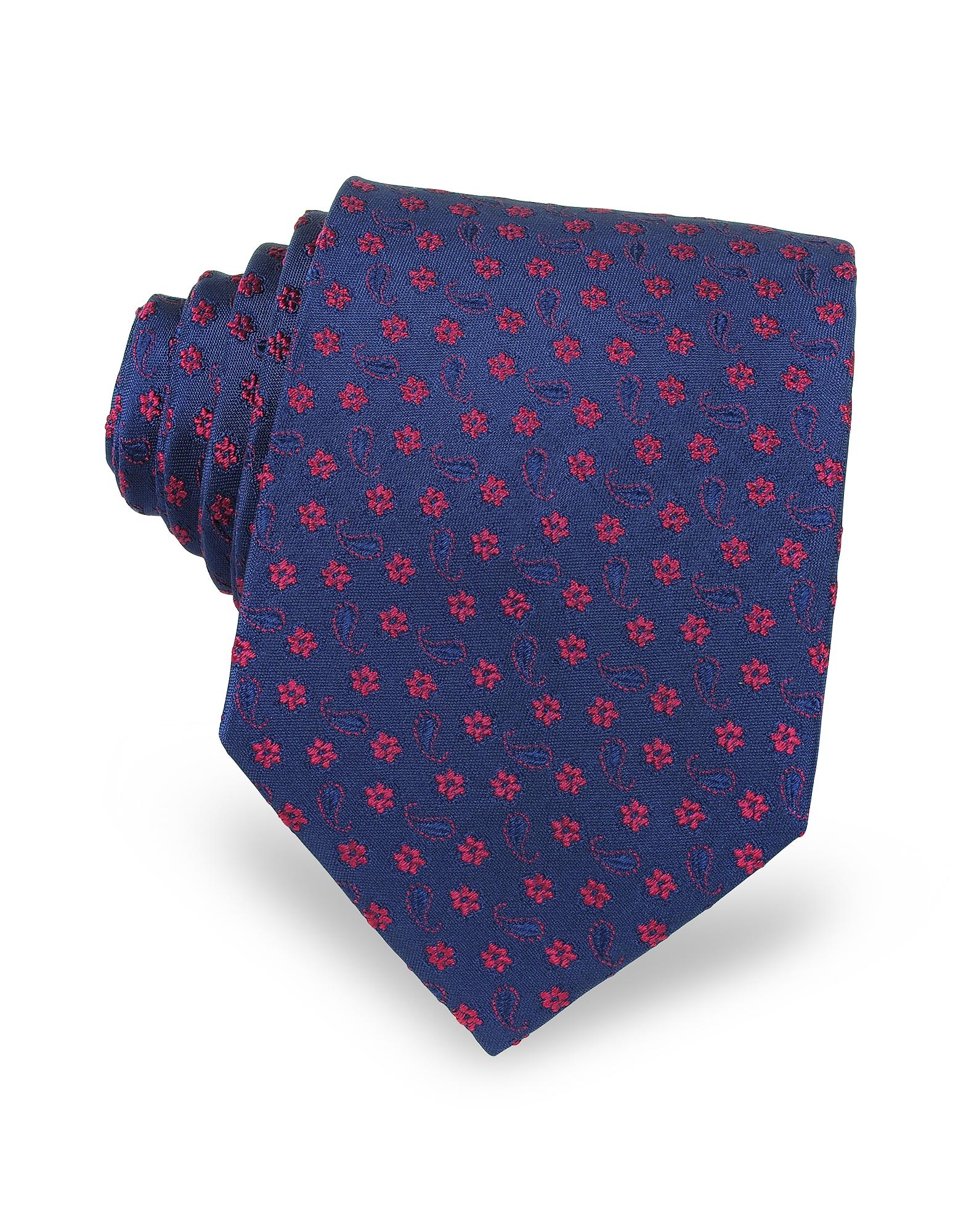 Cravatta da Uomo in Seta a Fiori/Cashmere