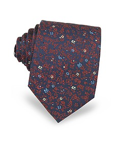 Micro Flower Woven Silk Men's Tie - Forzieri