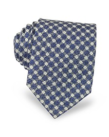 Blue and White Checked Woven Silk Men's Tie - Forzieri