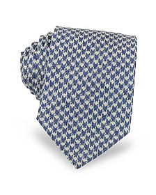 Blue and White Pied-de-poule Woven Silk Men's Tie - Forzieri