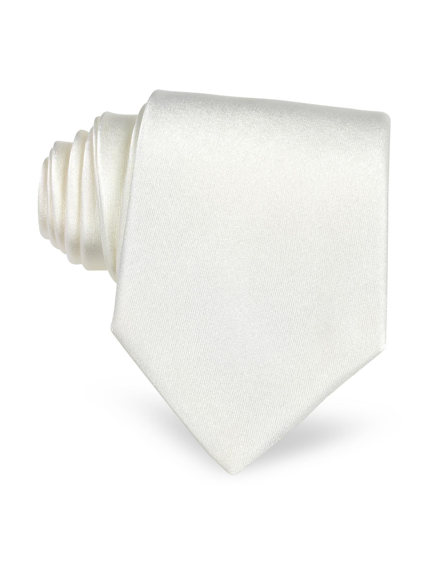 White Solid Silk Tie