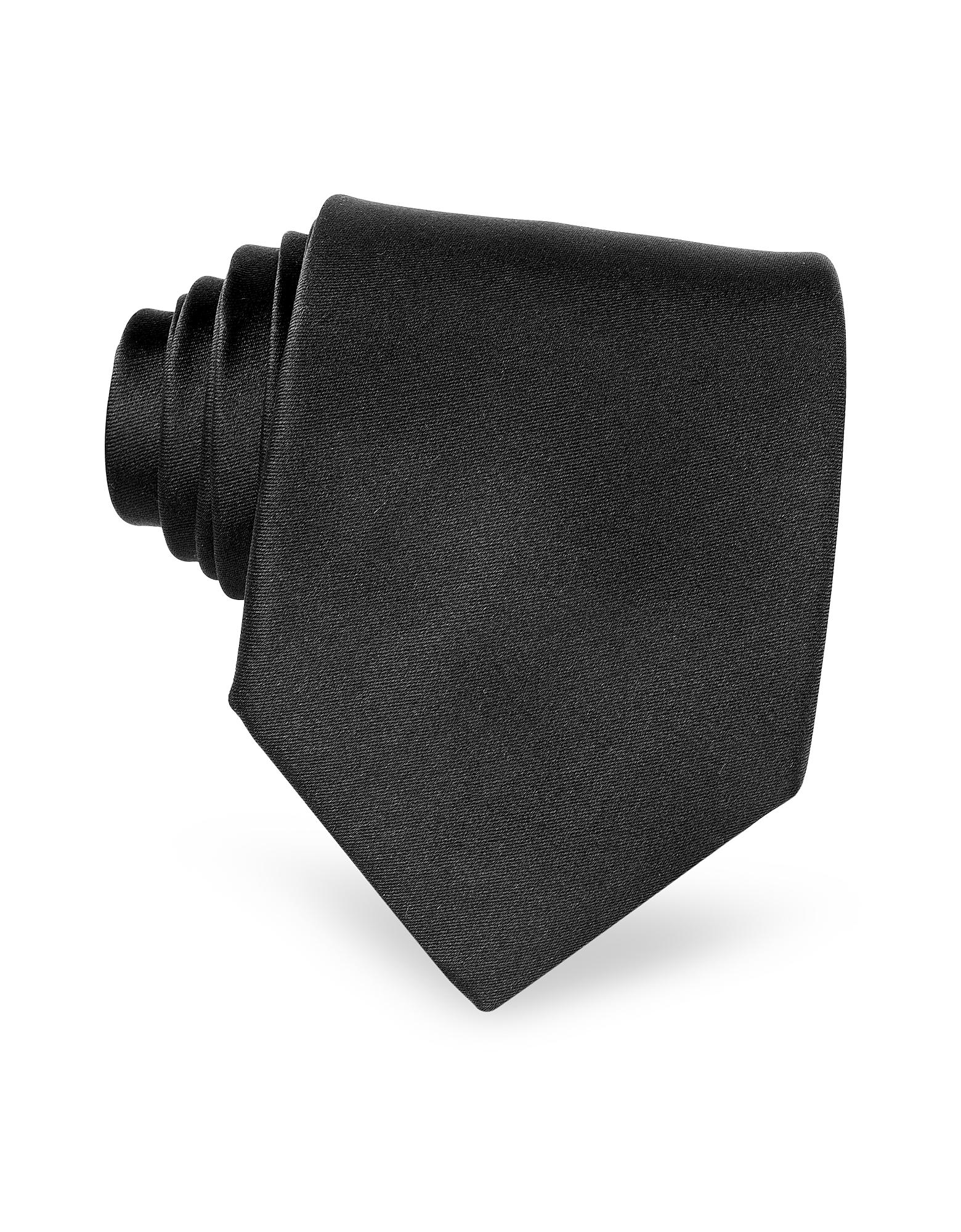 Solid Black Pure Silk Tie