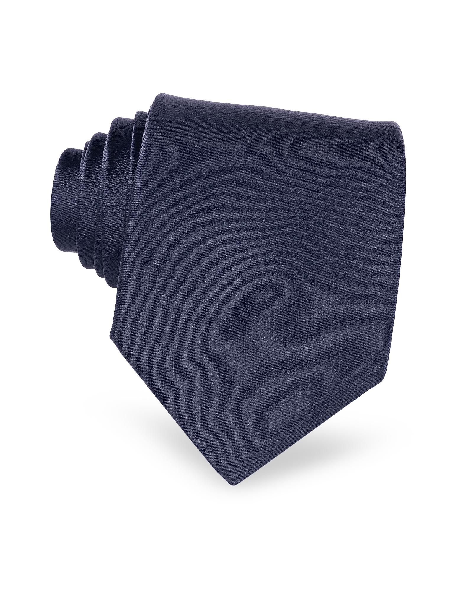 Forzieri Designer Ties, Dark Blue Solid Smooth Silk Tie