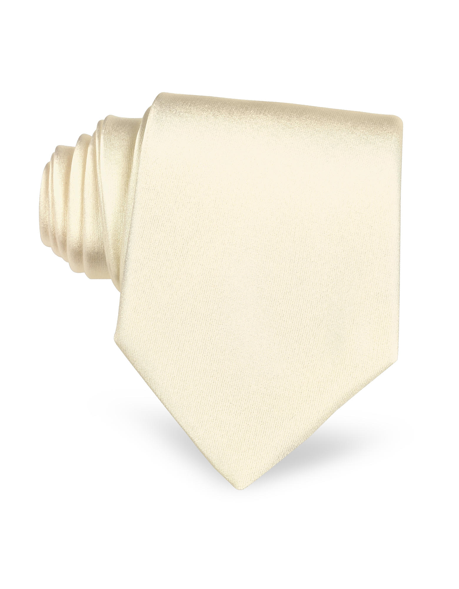 Ivory Solid Smooth Silk Tie, White