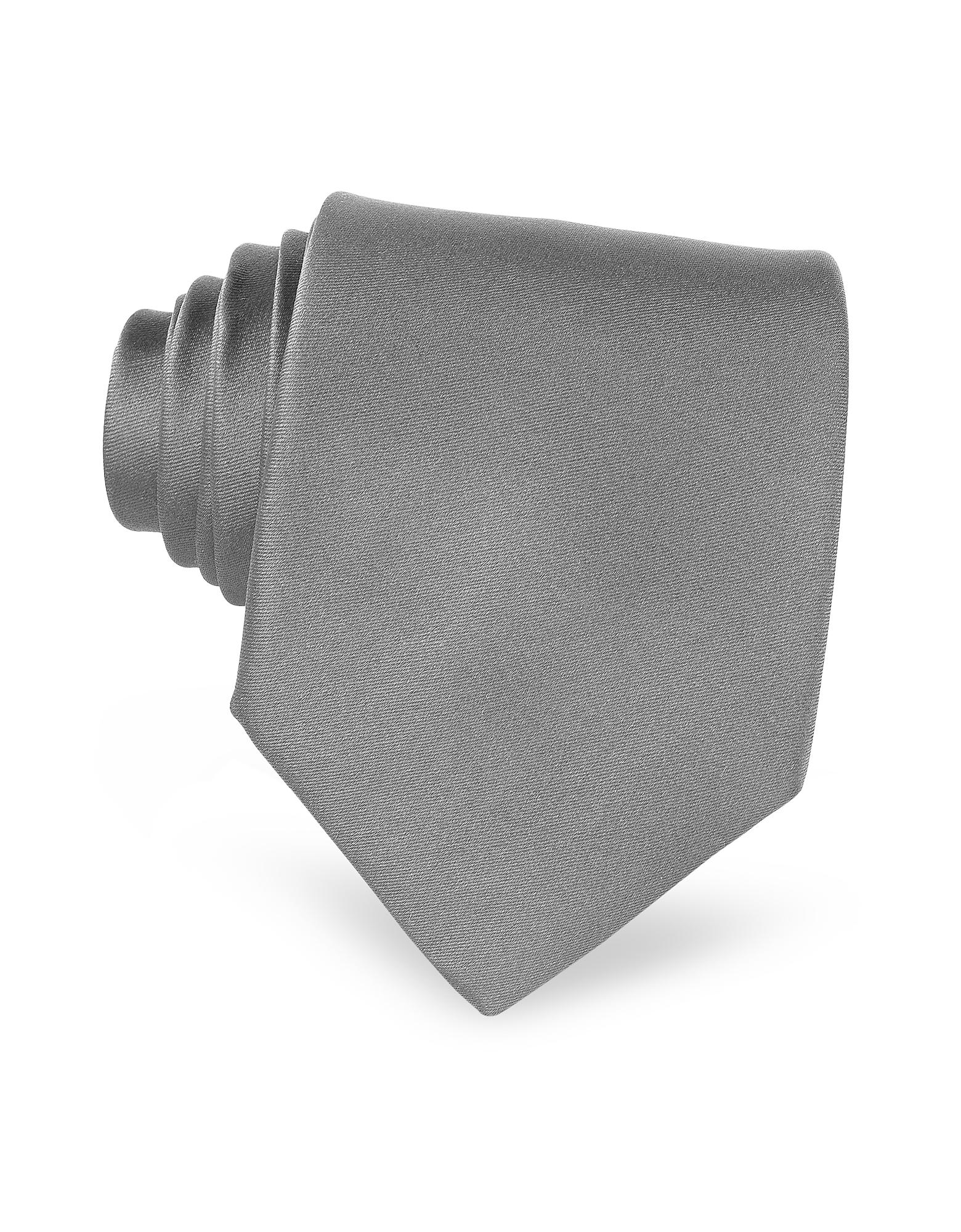Twill Silk Solid Men's Tie, Dark gray