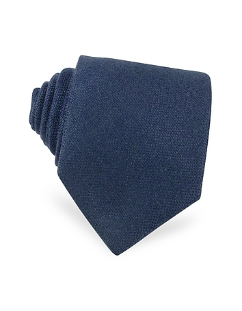 Forzieri - Solid Blue Cashmere Extra-Long Tie