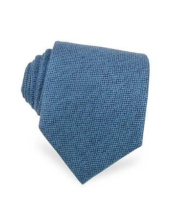 Forzieri - Solid Sky Blue Cashmere Extra-Long Tie