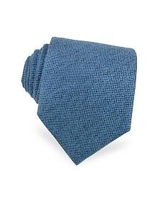 Solid Sky Blue Cashmere Extra-Long Tie - Forzieri