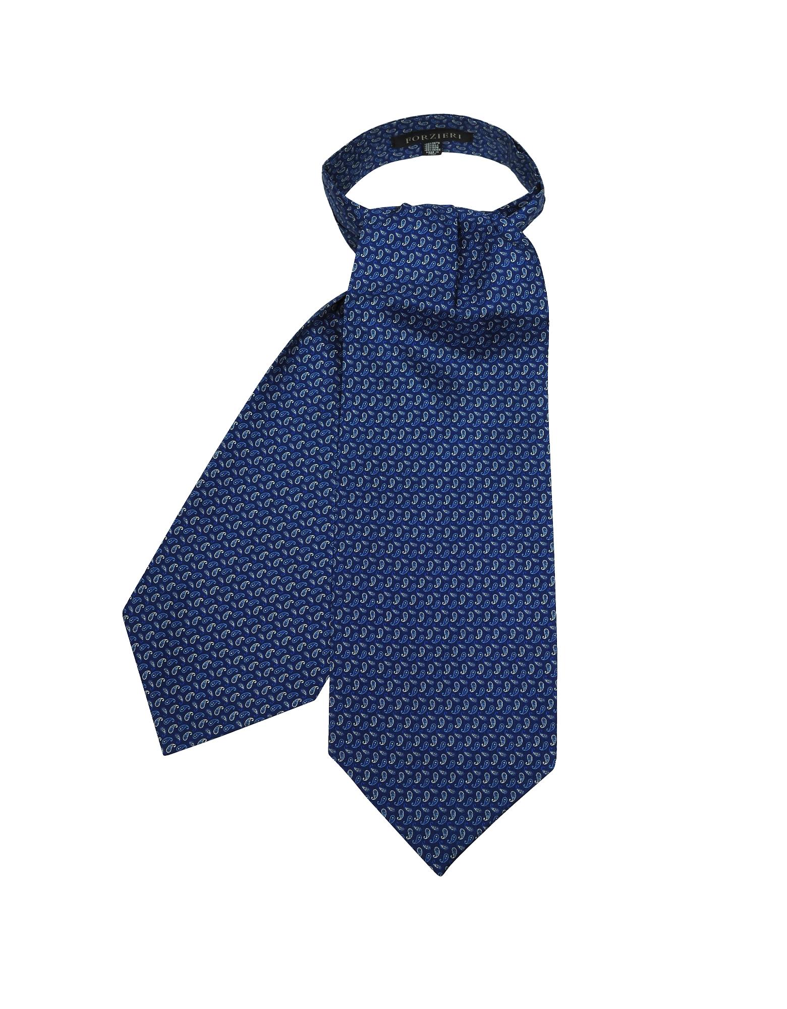 Forzieri Designer Ascot ties, Bright Blue Paisley Printed Twill Silk Ascot Tie