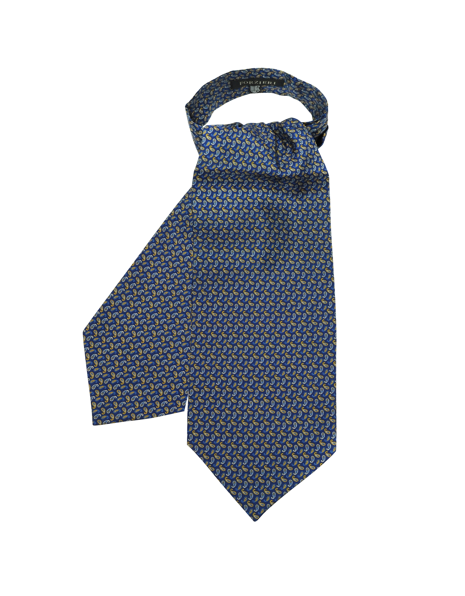 Forzieri Designer Ascot ties, Blue & Yellow Paisley Printed Twill Silk Ascot Tie