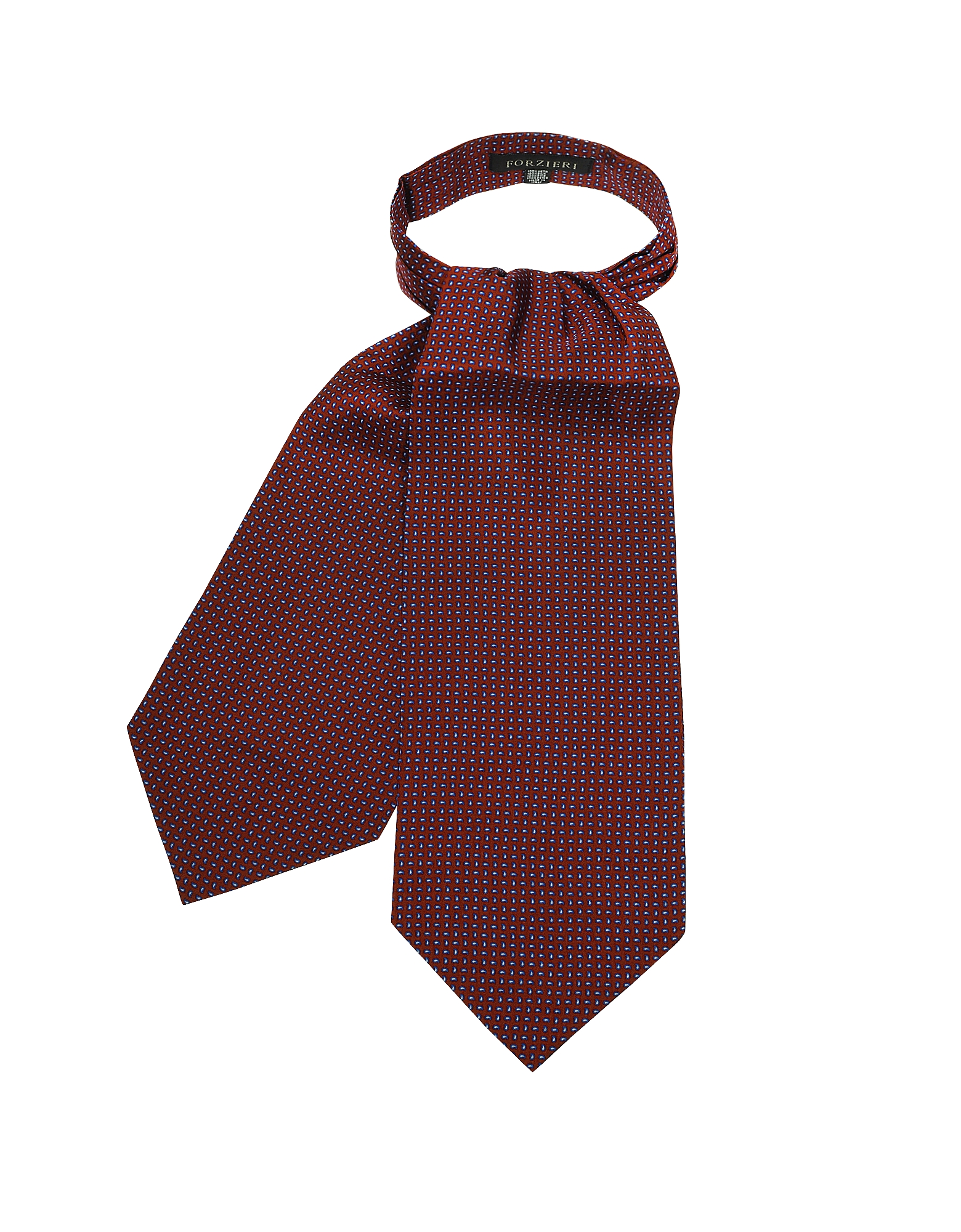 Forzieri Designer Ascot ties, Micro Feather Red Twill Silk Ascot Tie