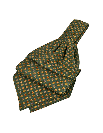 Steampunk Clothing- Men's Mini Paisley Print Silk Ascot $80.00 AT vintagedancer.com