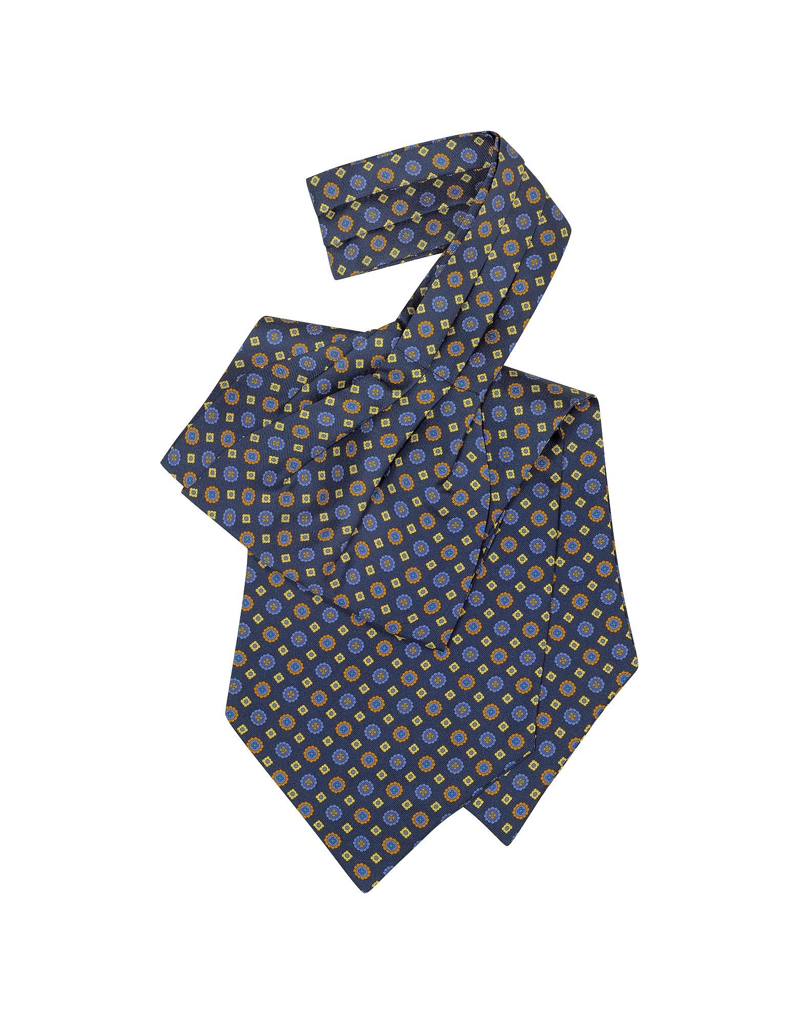 Image of Forzieri Designer Ascot ties, Floral Print Silk Tie Ascot