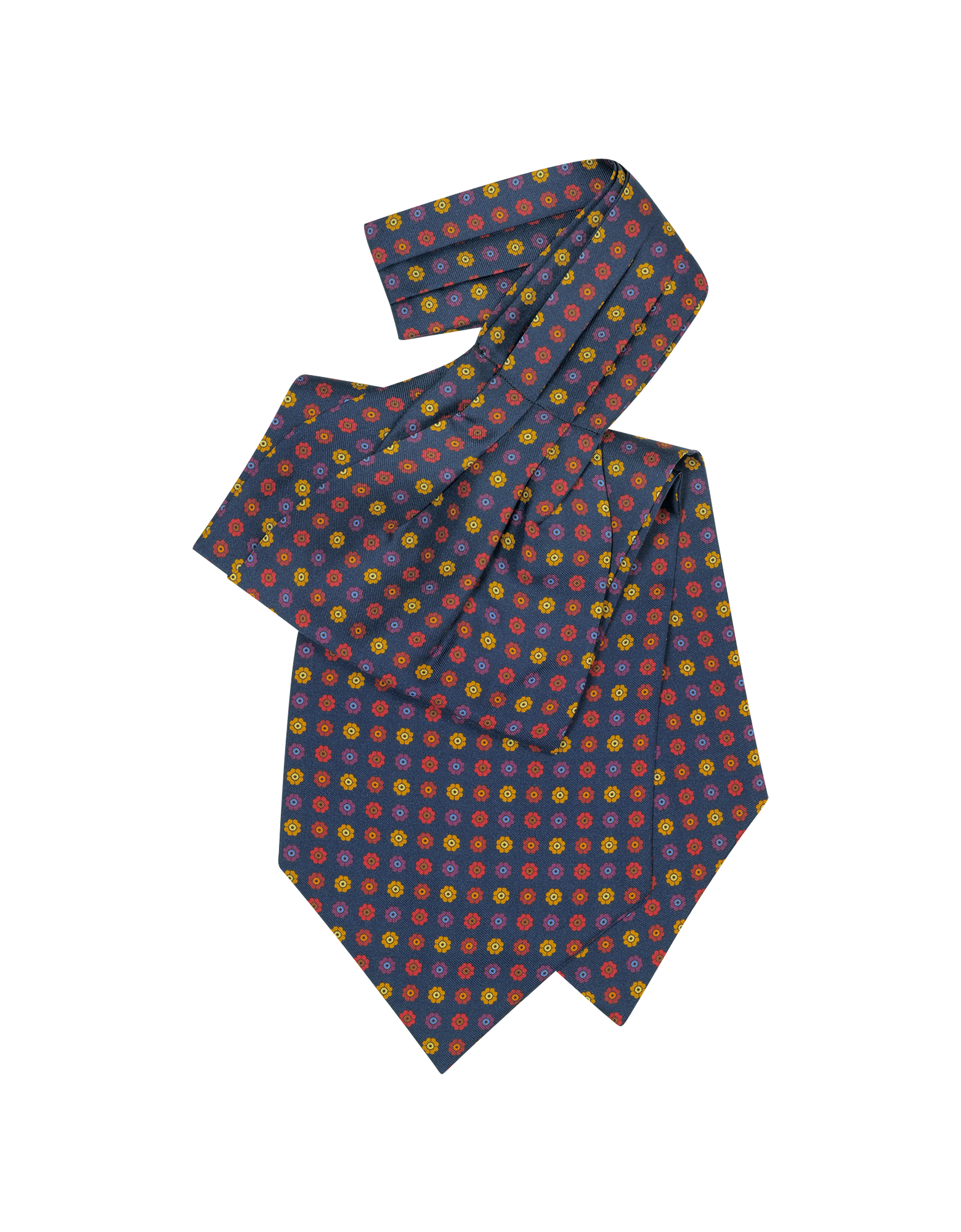 Image of Floral Print Silk Tie Ascot