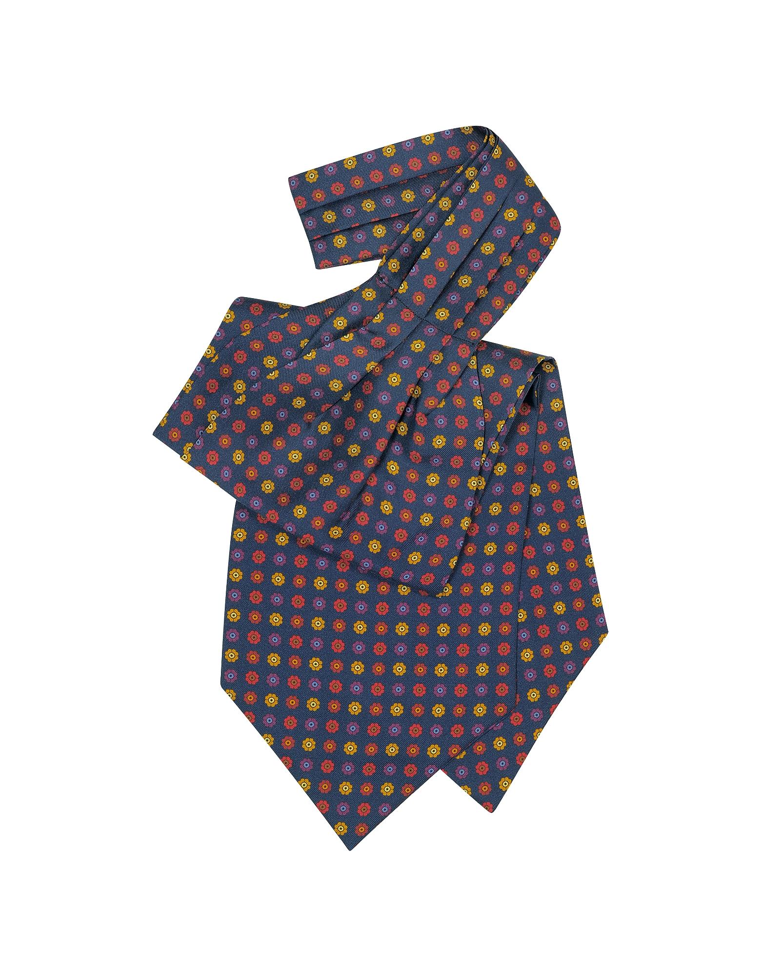 Forzieri Designer Ascot ties, Floral Print Silk Tie Ascot