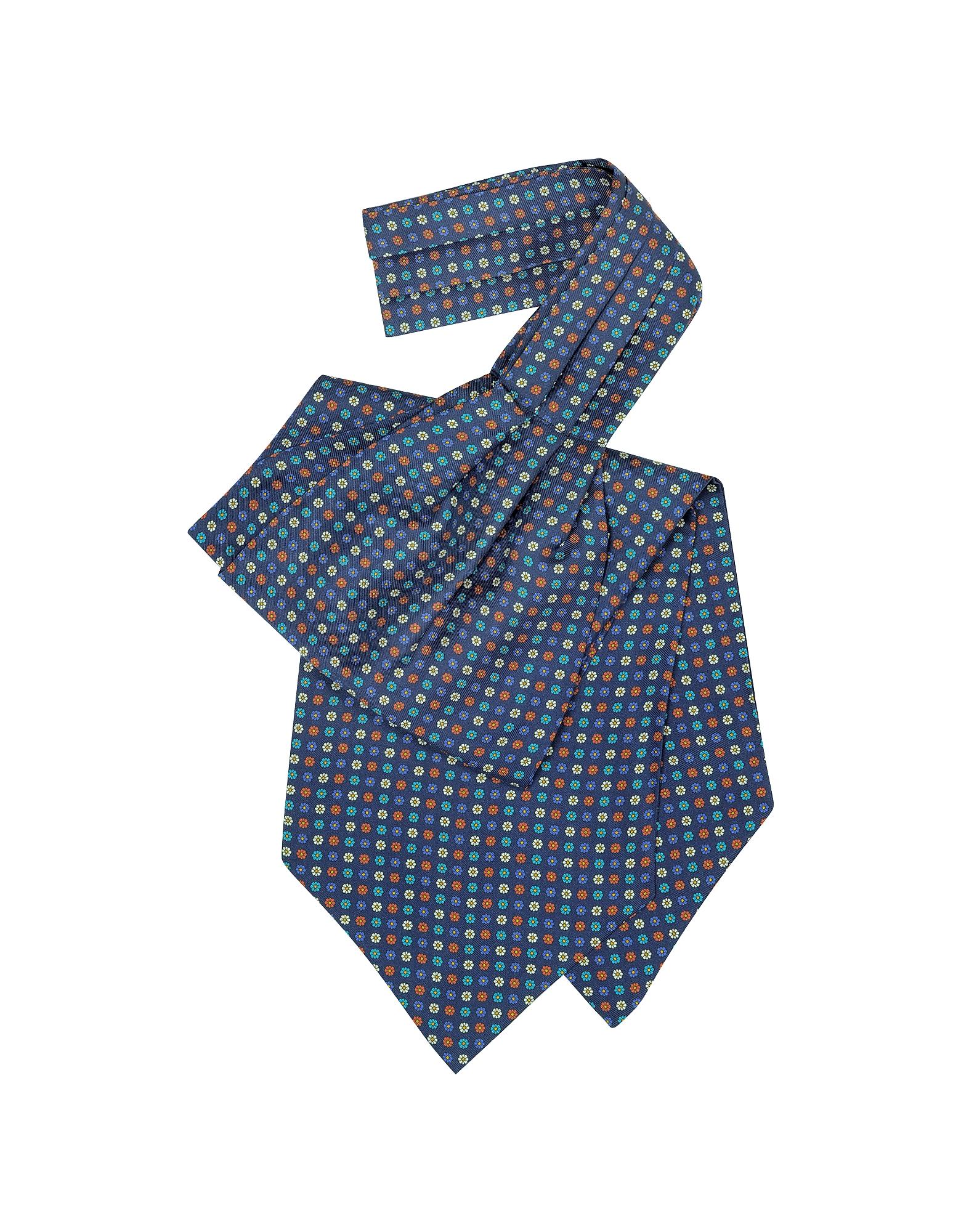 Forzieri Ascot ties, Multicolor Floral Print Silk Ascot