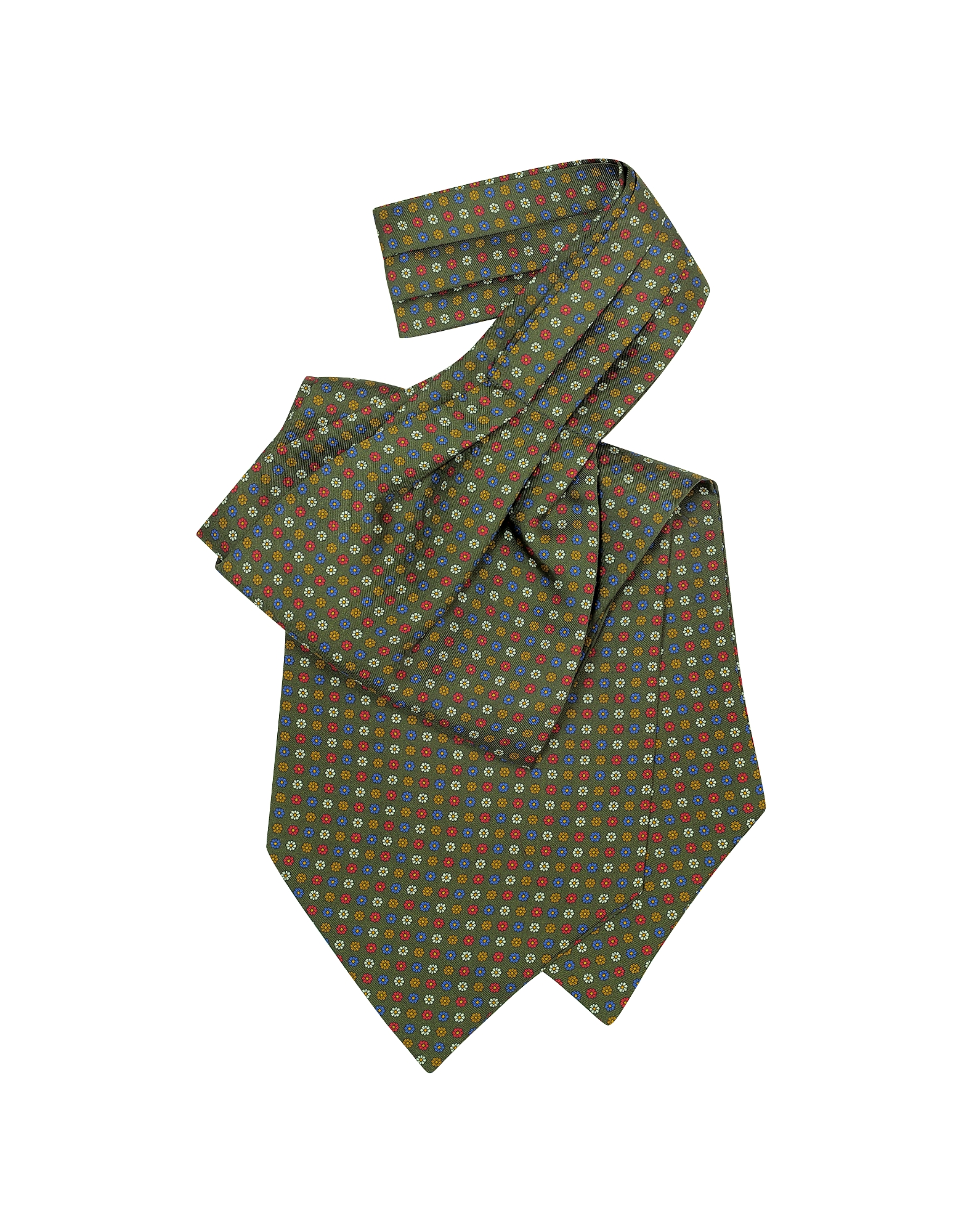 Forzieri Ascot ties, Multicolor Floral Print Silk Ascot
