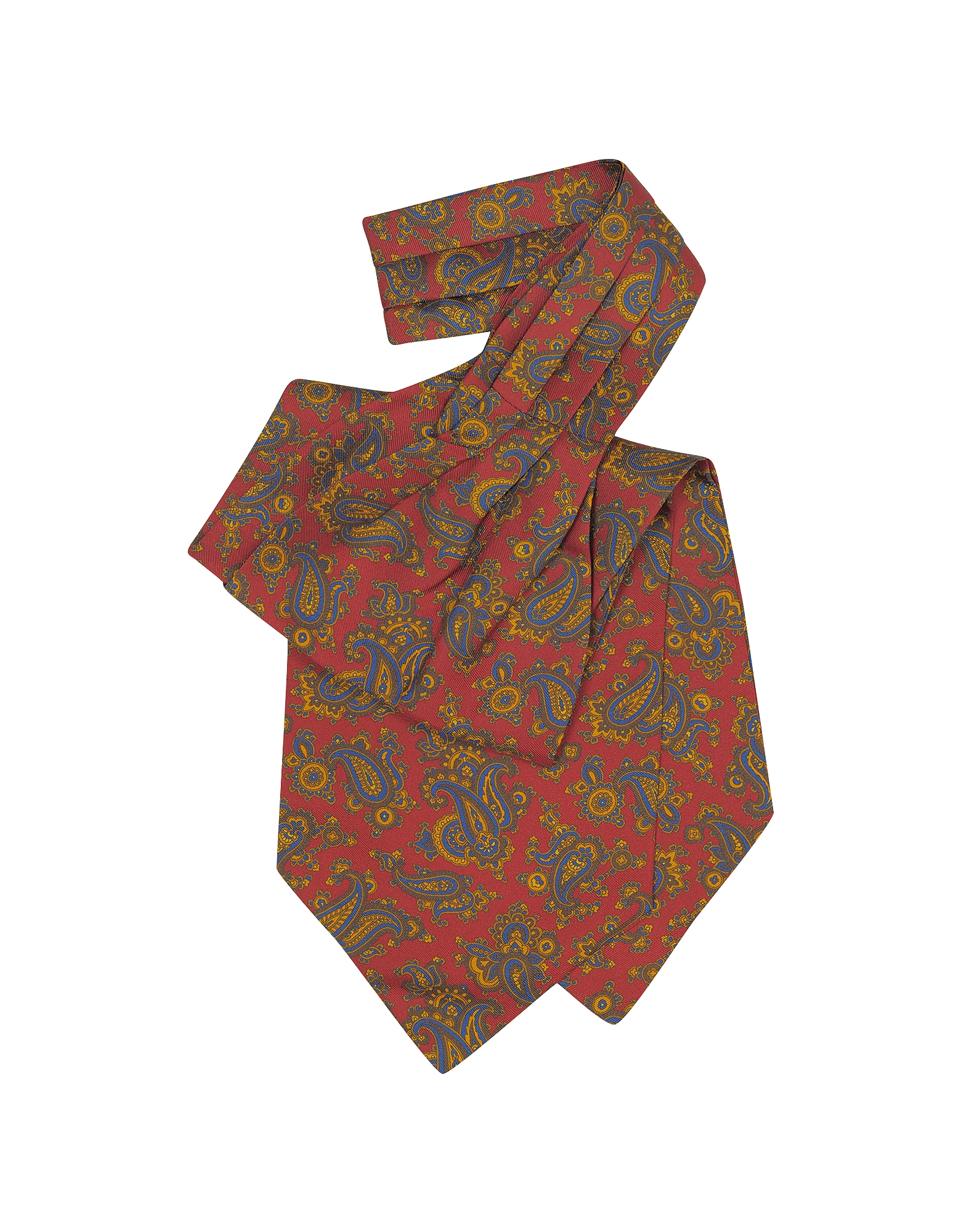 Large Paisley Print Silk Ascot, Red