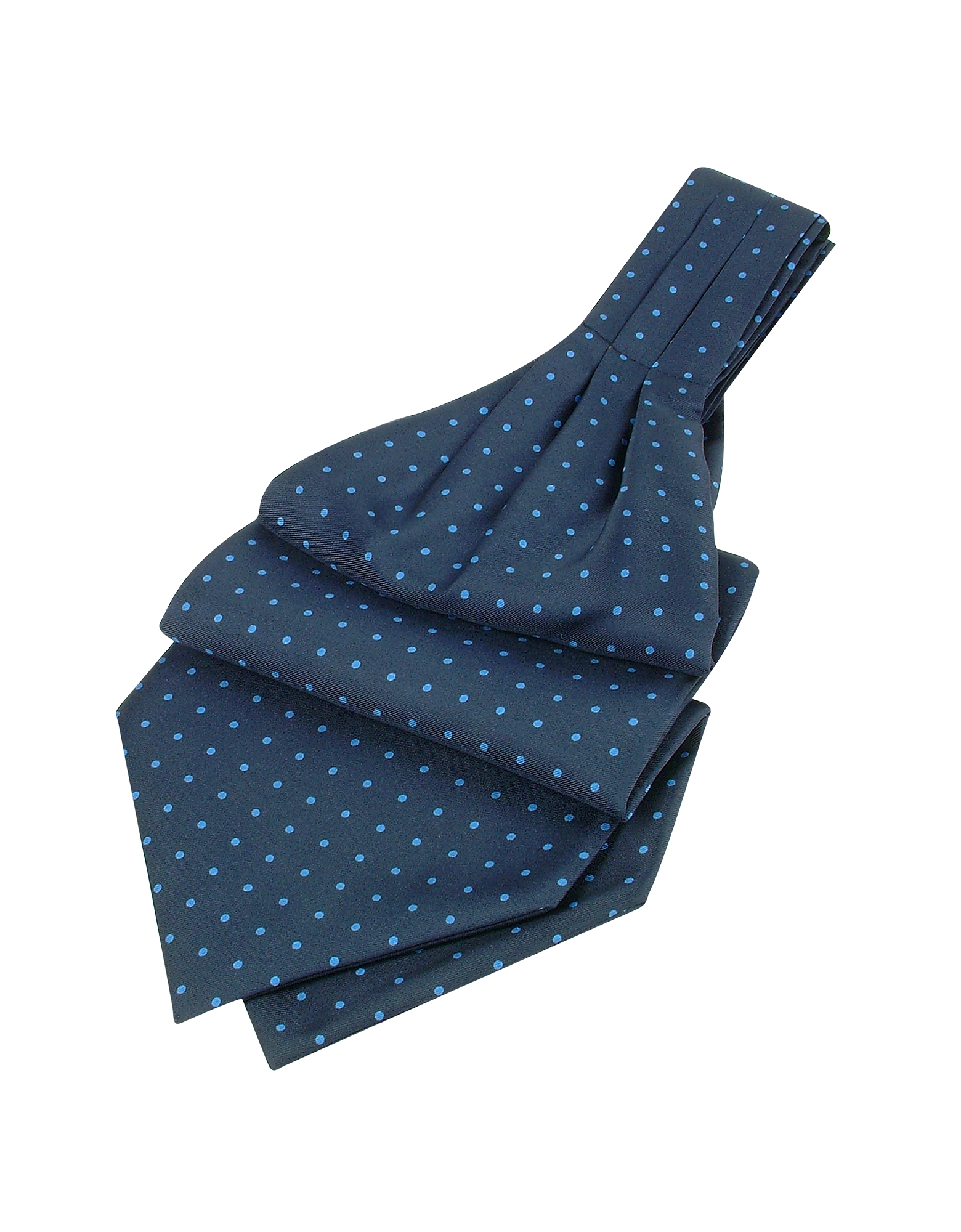 Темно-синий Аскотский Галстук из Твилового  Шелка в Горошек