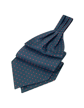 Steampunk Clothing- Men's Polkadot Pattern Dark Blue Twill Silk Ascot $80.00 AT vintagedancer.com
