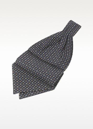 Dark Blue Micro-design Twill Silk Ascot - Forzieri