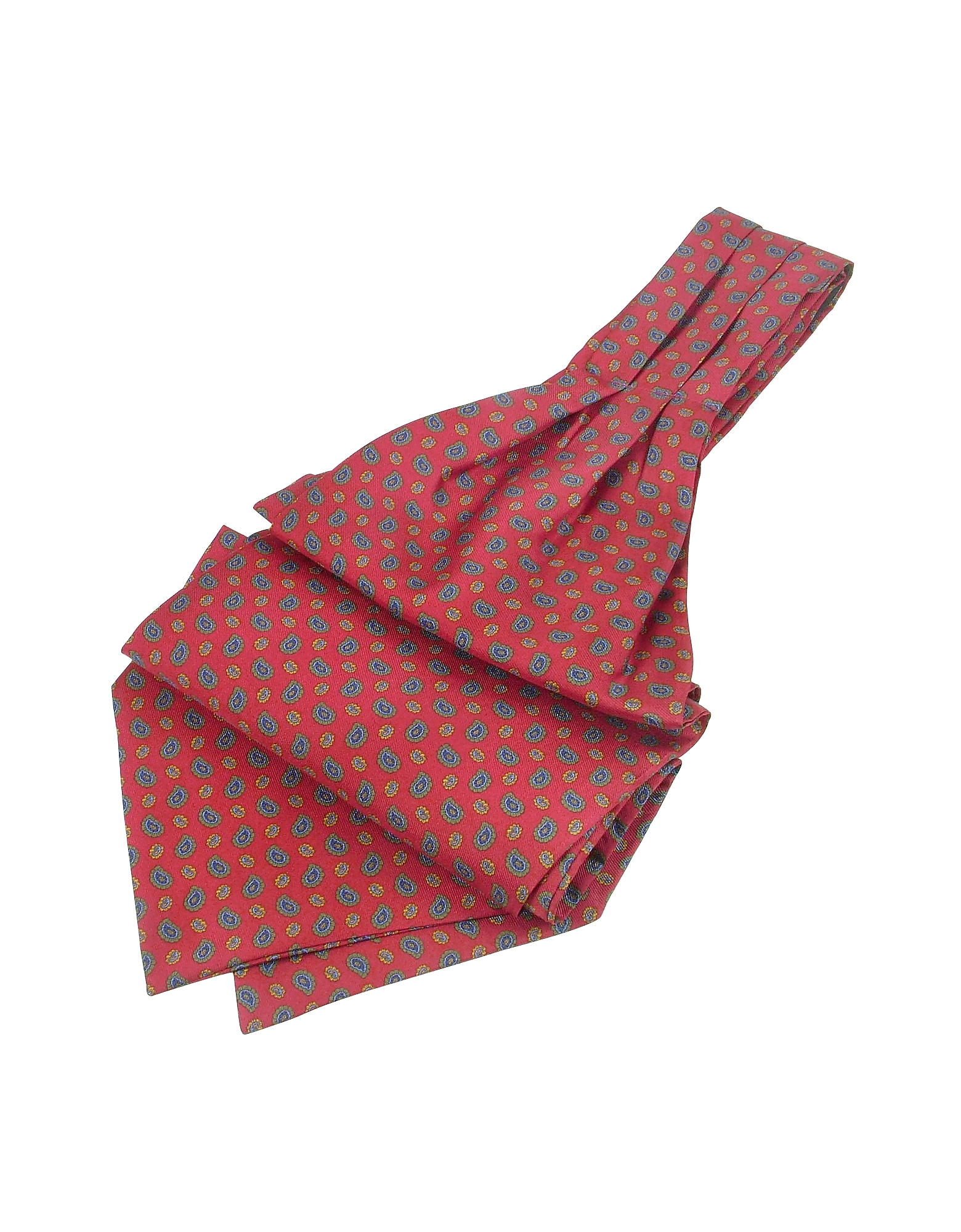 Mini Paisley Print Twill Silk Ascot, Red