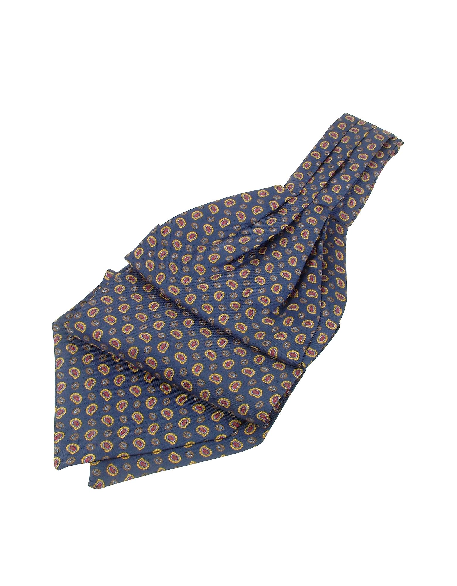 Forzieri Ascot ties, Mini Paisley Print Twill Silk Ascot