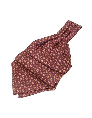 Edwardian Men's Neckties Mini Paisley Print Twill Silk Ascot $80.00 AT vintagedancer.com