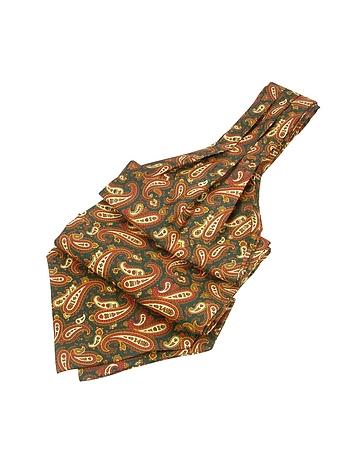 Steampunk Clothing- Men's Paisley Print Twill Silk Ascot $80.00 AT vintagedancer.com