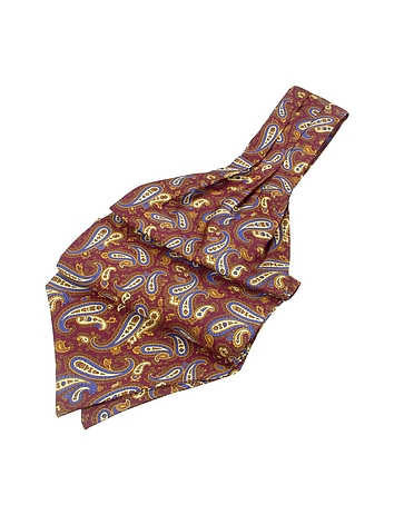 Edwardian Men's Neckties Paisley Print Twill Silk Ascot $80.00 AT vintagedancer.com