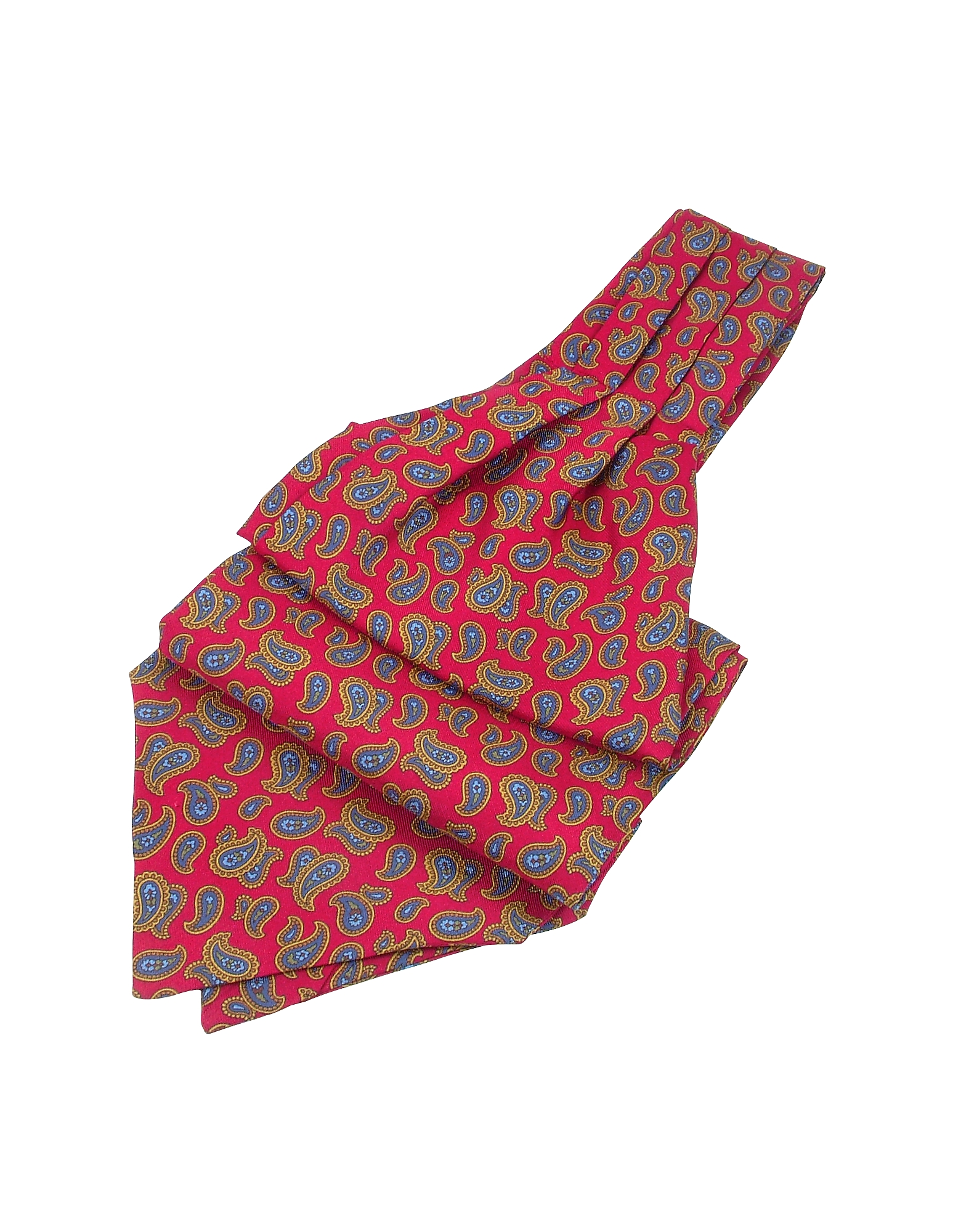 Image of Forzieri Designer Ascot ties, Large Paisley Print Twill Silk Ascot