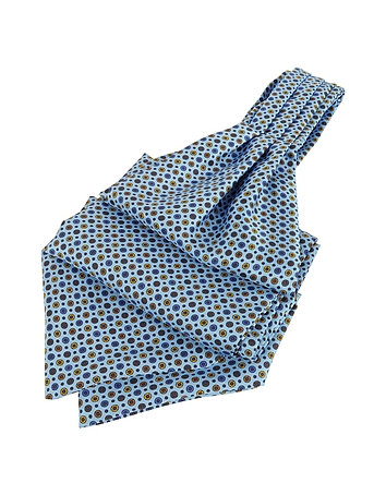 Forzieri - Dots and Flower Print Silk Ascot
