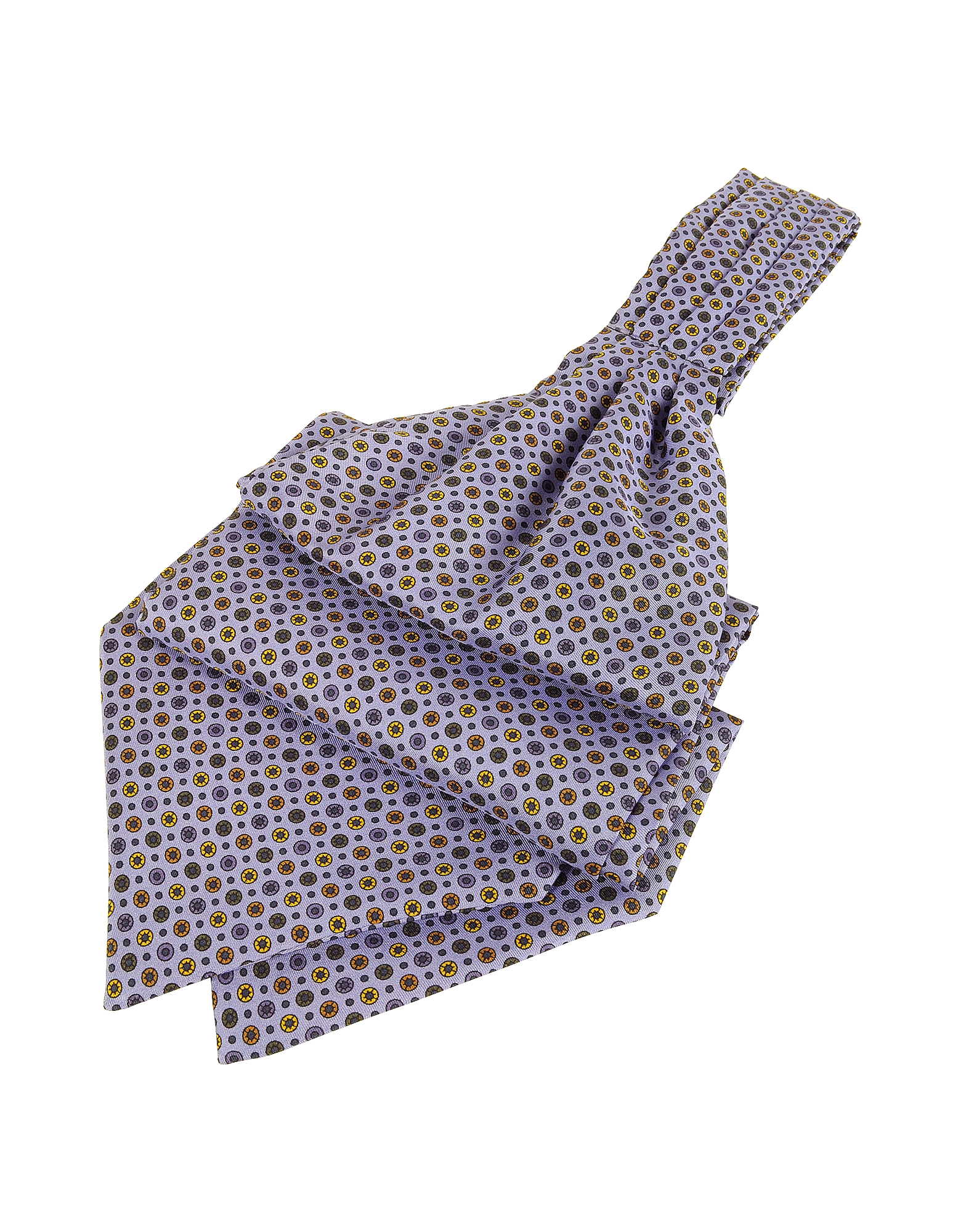 Image of Forzieri Designer Ascot ties, Dots and Flower Print Silk Ascot