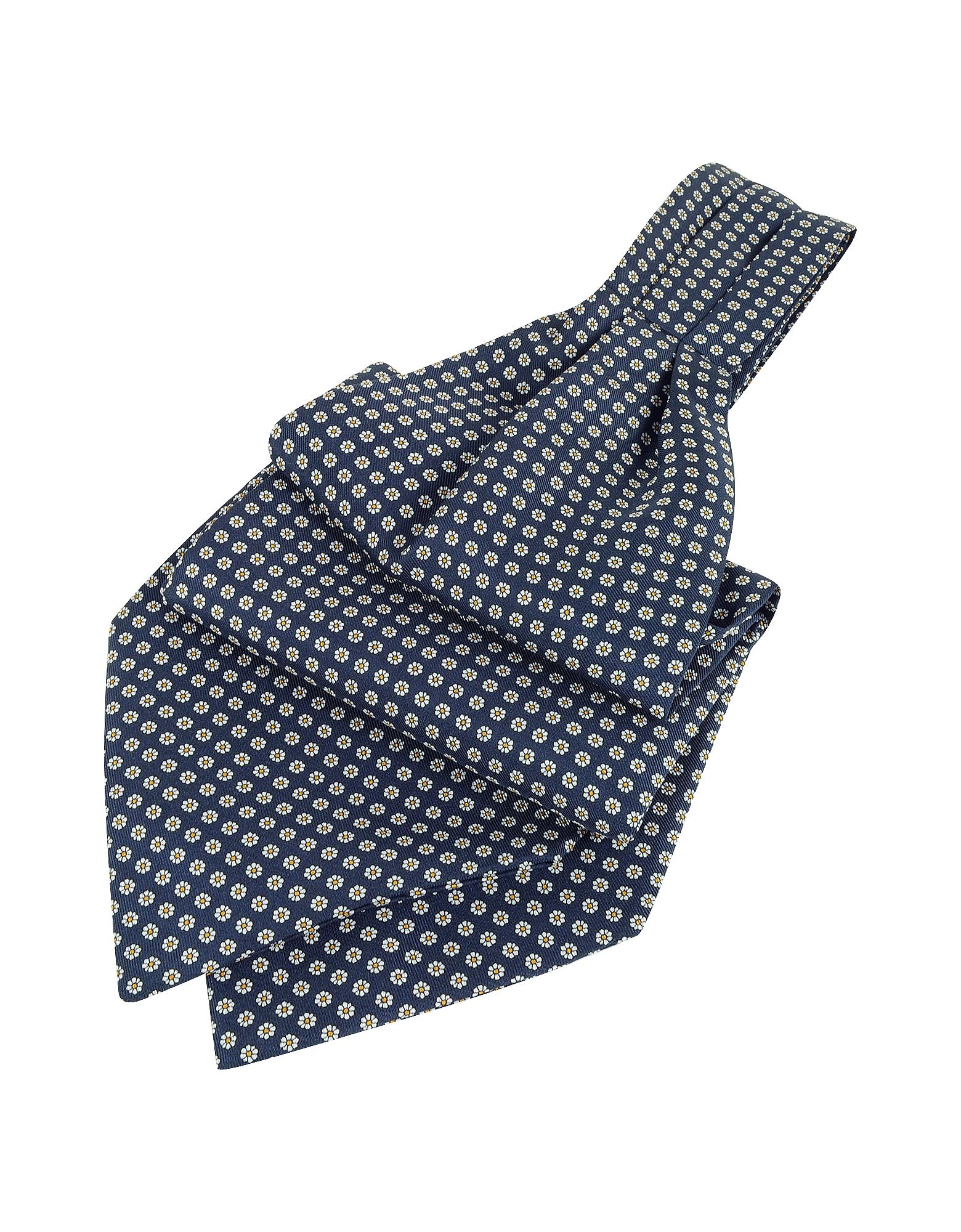 Image of Forzieri Designer Ascot ties, Daisy Print Pure Silk Ascot