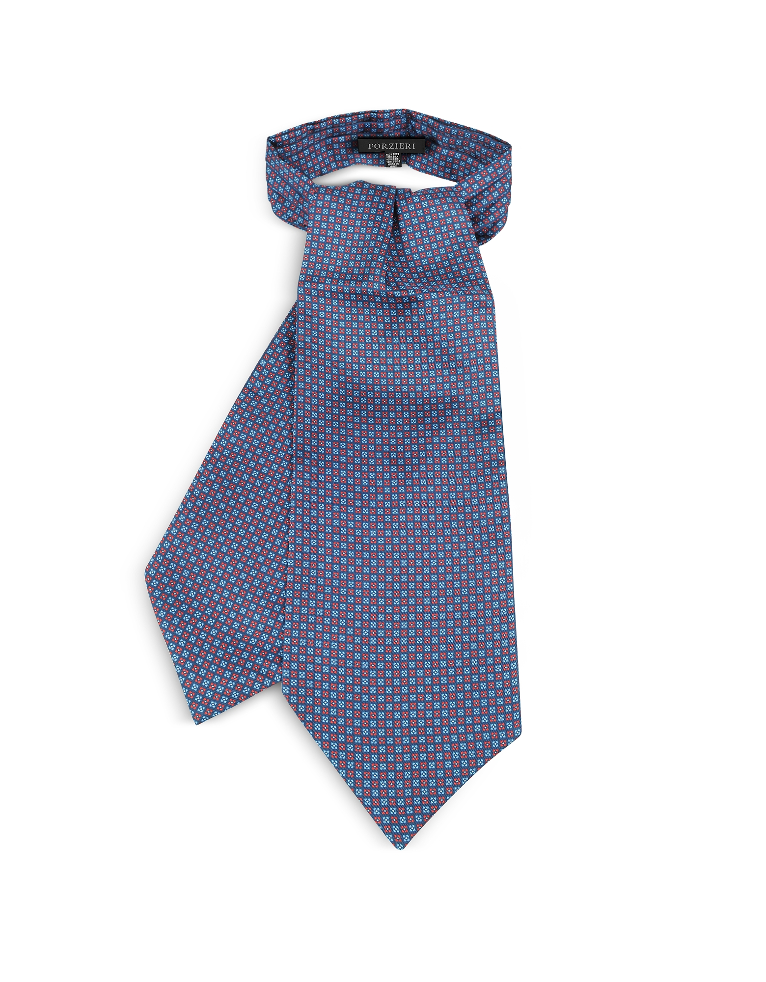 Forzieri Ascot ties, Two Tone Mini Squares Geometric Print Silk Tie Ascot