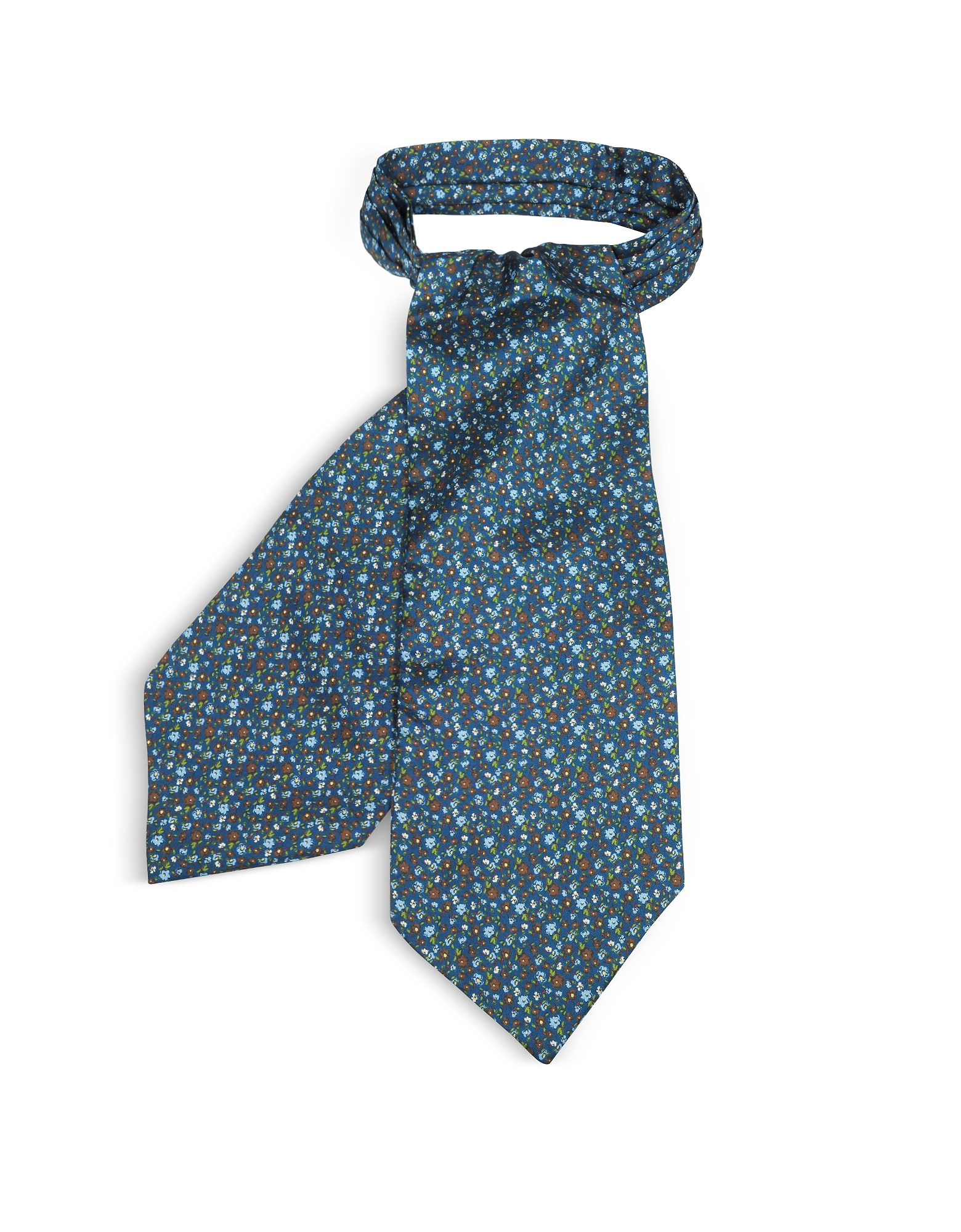 Floral Printed Silk Men's Ascot, Blue