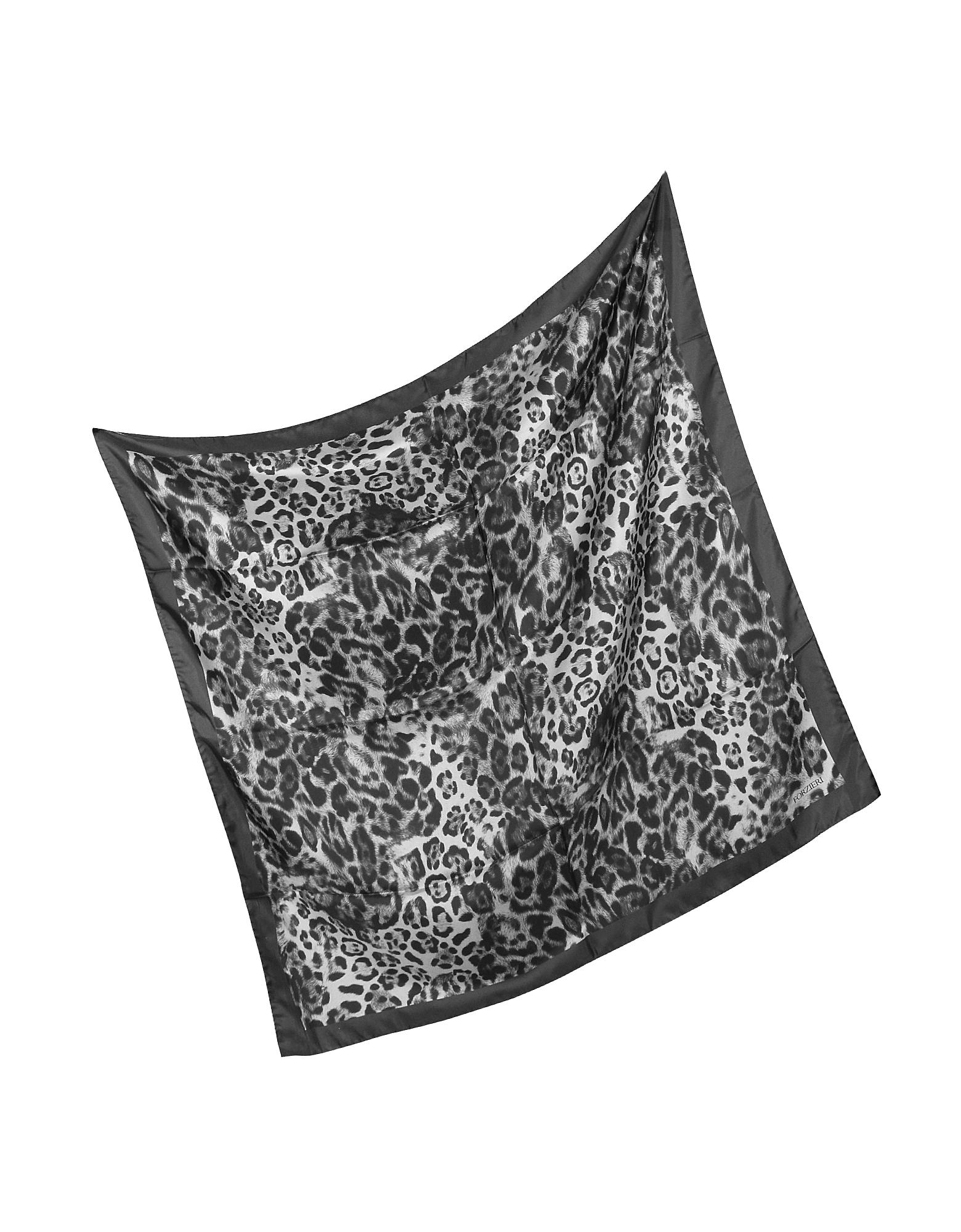 Animal Print Twill Silk Square Scarf от Forzieri.com INT