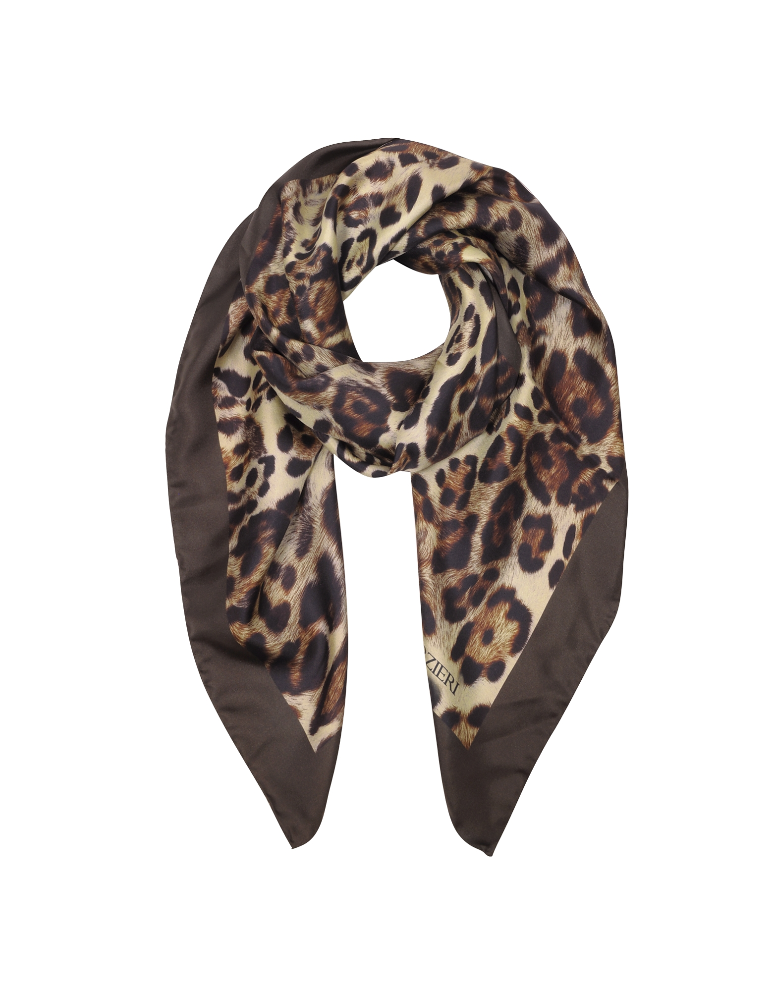 Forzieri Square Scarves, Animal Print Twill Silk Square Scarf