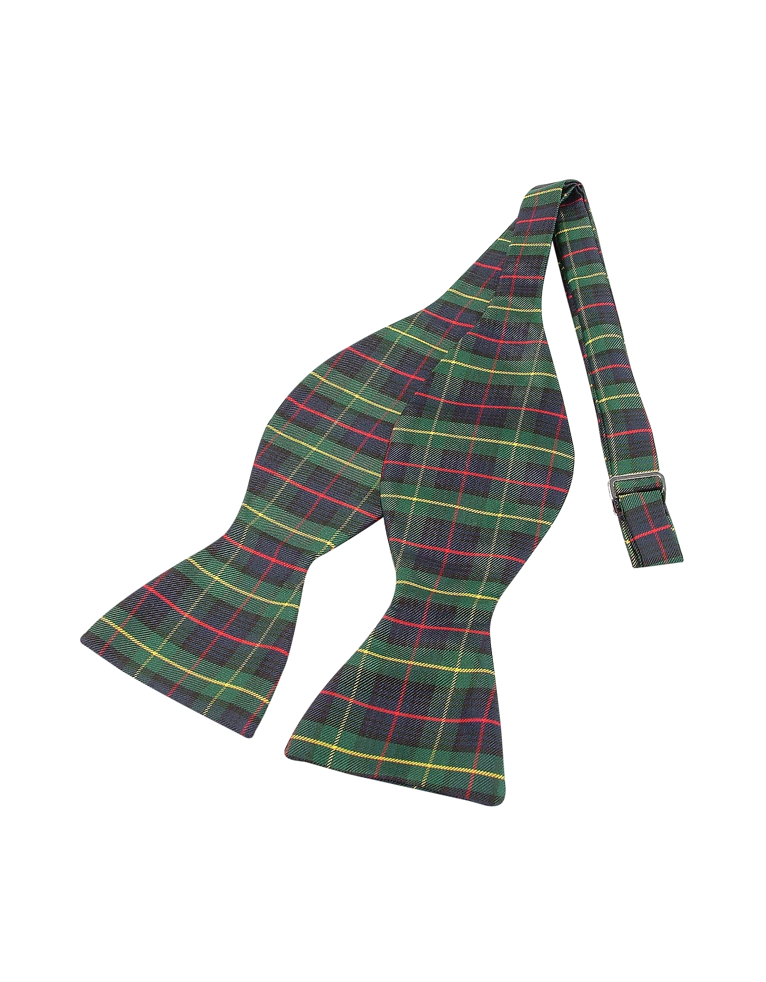 Forzieri Bowties and Cummerbunds, Green Plaid Printed Silk Self-tie Bowtie