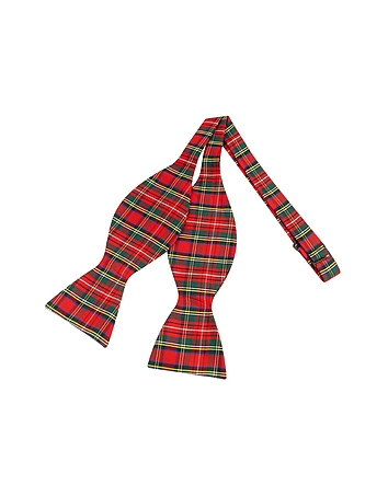 Forzieri - Red & Green Plaid Printed Silk Self-tie Bowtie