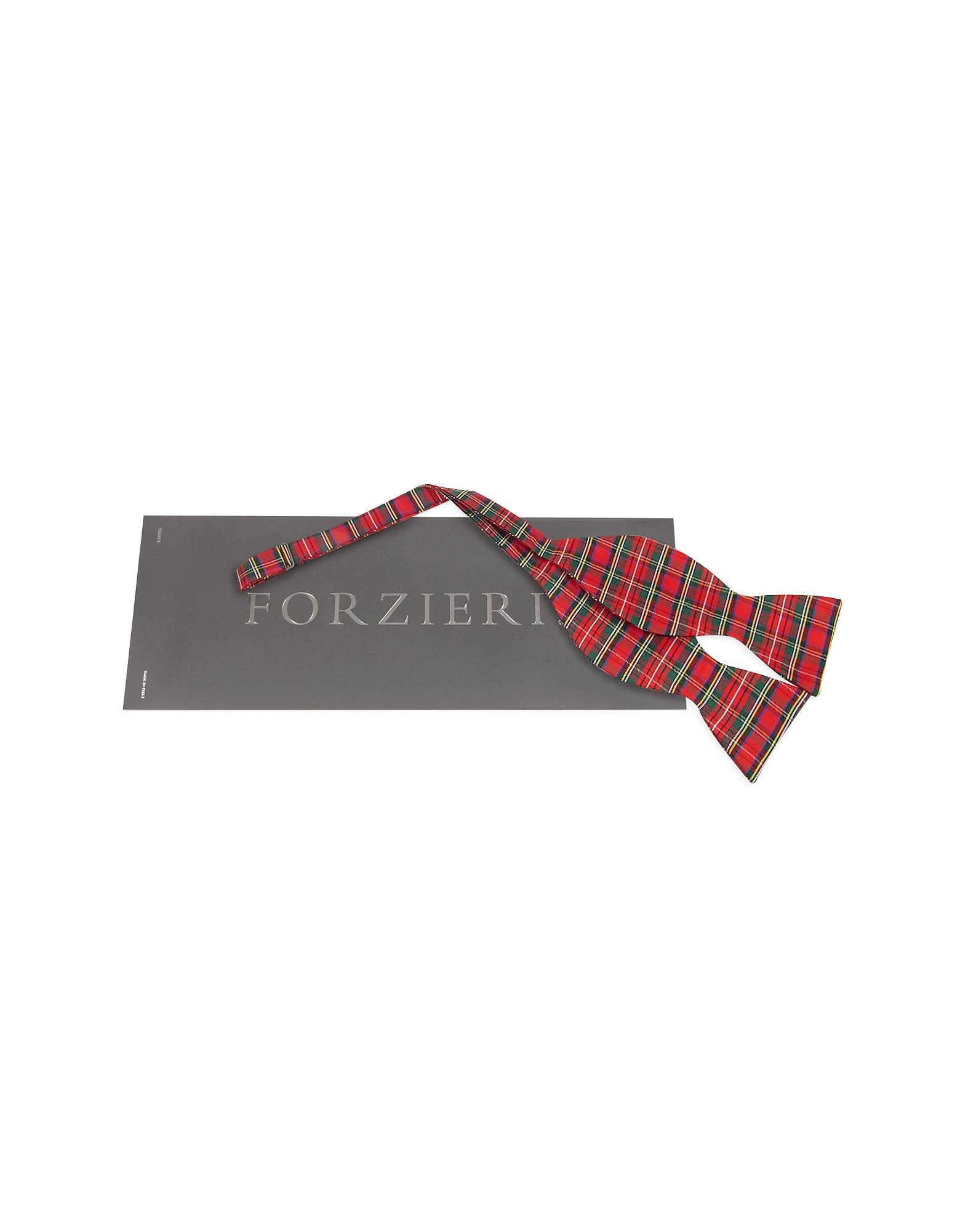 Red & Green Plaid Printed Silk Self-tie Bowtie от Forzieri.com INT