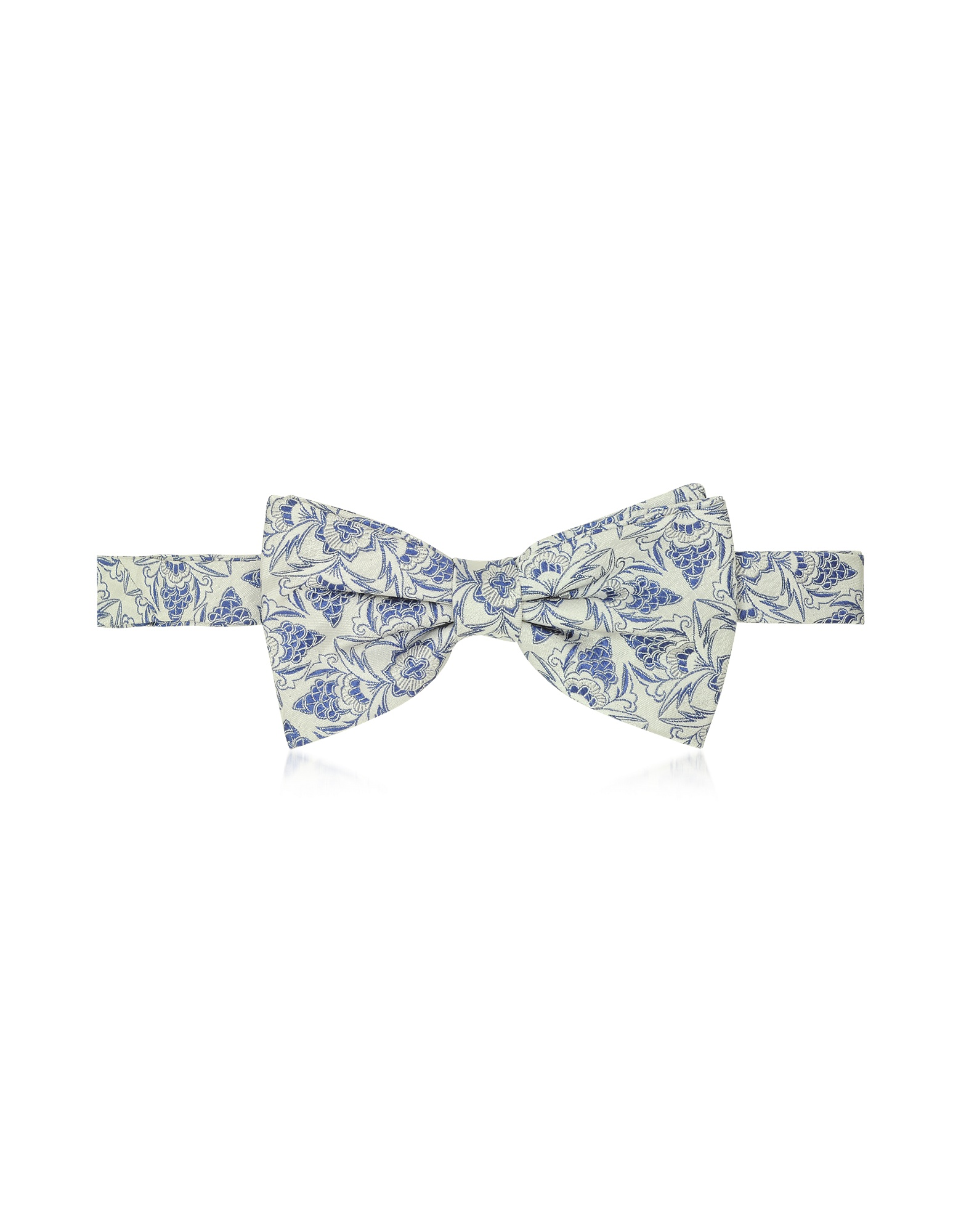 Gray and Blue Floral Woven Silk Pre-tied Bow tie от Forzieri.com INT